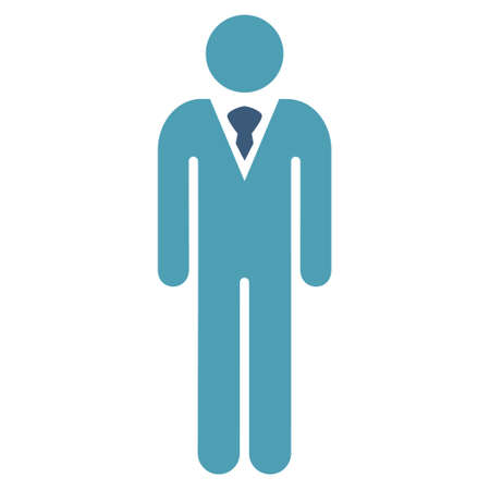 Man icon. Vector style is bicolor flat iconic symbol with rounded angles, cyan and blue colors, white background.