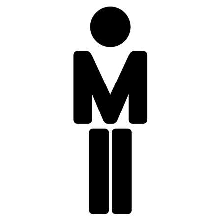 persona: Male icon. Vector style is flat iconic symbol with rounded angles, black color, white background.