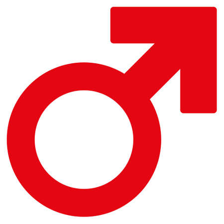 Male Symbol icon. Vector style is flat iconic symbol with rounded angles, intensive red color, white background.