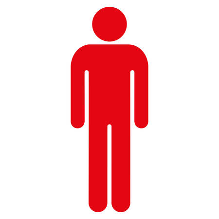 Man icon. Vector style is flat iconic symbol with rounded angles, intensive red color, white background.