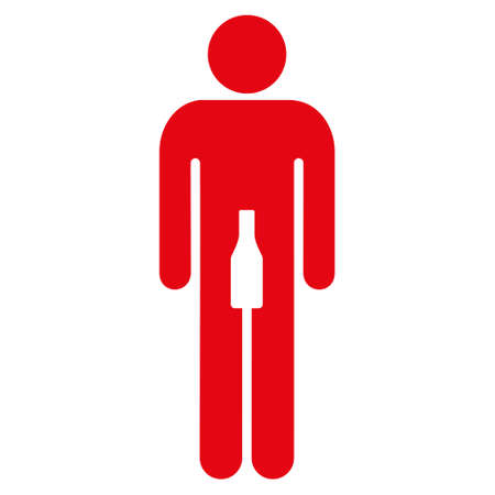 Male icon. Vector style is flat iconic symbol with rounded angles, intensive red color, white background.