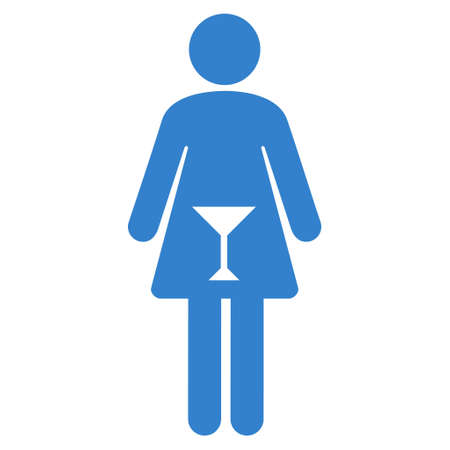 Female icon. Vector style is flat iconic symbol with rounded angles, cobalt color, white background.