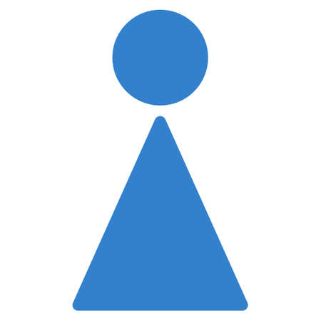 Woman icon. Vector style is flat iconic symbol with rounded angles, cobalt color, white background.