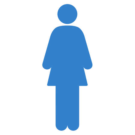 cobalt: Girl icon. Vector style is flat iconic symbol with rounded angles, cobalt color, white background.