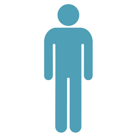 persona: Male icon. Vector style is flat iconic symbol with rounded angles, cyan color, white background. Illustration