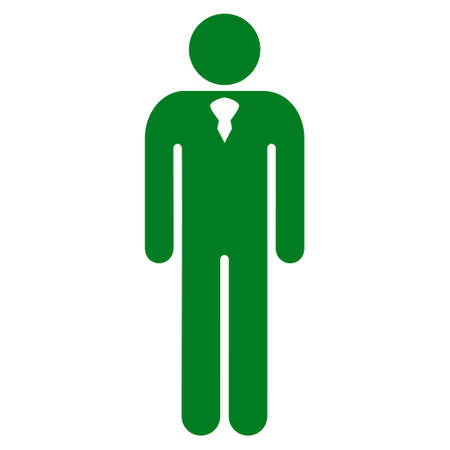 persona: Gentleman icon. Vector style is flat iconic symbol with rounded angles, green color, white background.