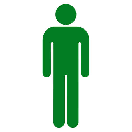 Man icon. Vector style is flat iconic symbol with rounded angles, green color, white background.