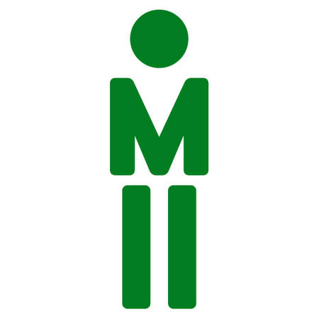 Gentleman icon. Vector style is flat iconic symbol with rounded angles, green color, white background.