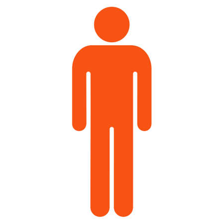 persona: Male icon. Vector style is flat iconic symbol with rounded angles, orange color, white background.