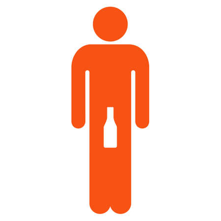 Boy icon. Vector style is flat iconic symbol with rounded angles, orange color, white background.