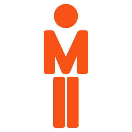 persona: Boy icon. Vector style is flat iconic symbol with rounded angles, orange color, white background.