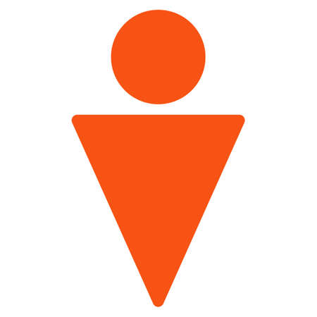 persona: Man icon. Vector style is flat iconic symbol with rounded angles, orange color, white background.
