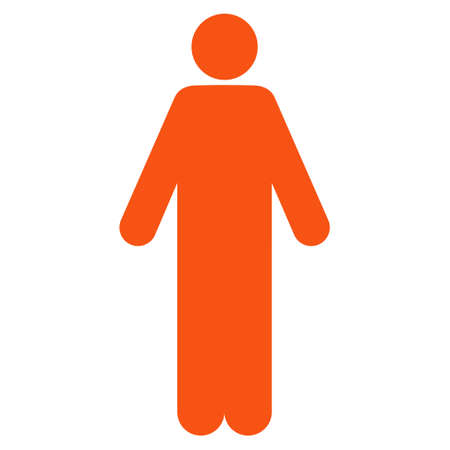 Man icon. Vector style is flat iconic symbol with rounded angles, orange color, white background.