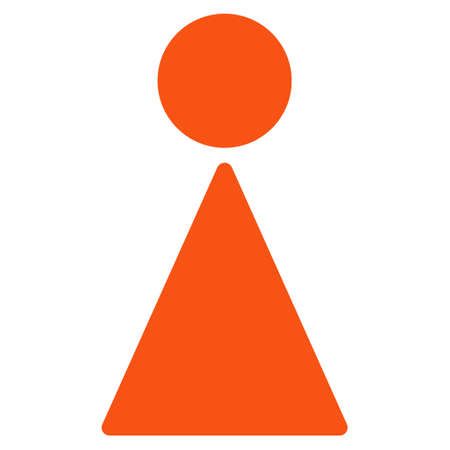 orange color: Woman icon. Vector style is flat iconic symbol with rounded angles, orange color, white background. Illustration
