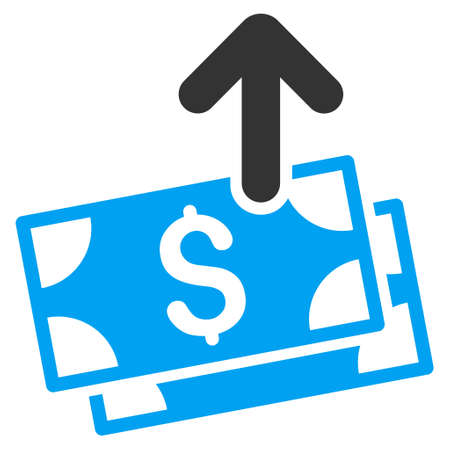 banknotes: Send Banknotes icon. Glyph style is bicolor flat iconic symbol with rounded angles, blue and gray colors, white background.