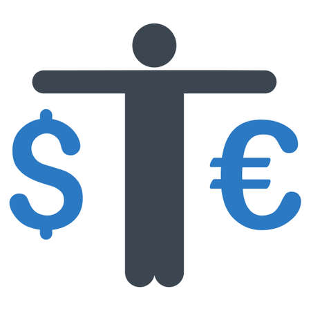 Currency Trader icon. Vector style is bicolor flat iconic symbol with rounded angles, smooth blue colors, white background.