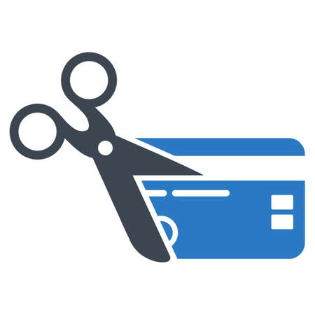 close account: Cut Credit Card icon. Vector style is bicolor flat iconic symbol with rounded angles, smooth blue colors, white background.