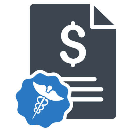 Medical Invoice icon. Vector style is bicolor flat iconic symbol with rounded angles, smooth blue colors, white background.