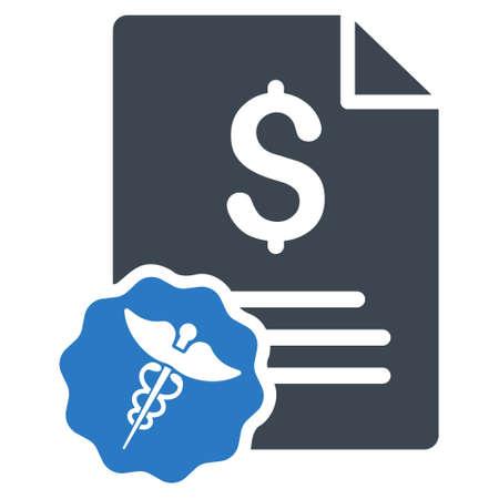 Medical Rechnungs Symbol. Vector Stil ist bicolor flach ikonische Symbol mit abgerundeten Ecken, glatten blauen Farben, weißen Hintergrund.