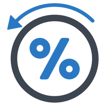 rebate: Rebate Percent icon. Vector style is bicolor flat iconic symbol with rounded angles, smooth blue colors, white background. Illustration