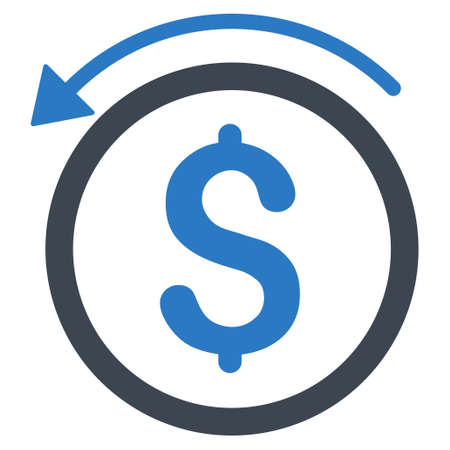 Refund icon. Vector style is bicolor flat iconic symbol with rounded angles, smooth blue colors, white background.