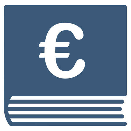 sales book: Euro Sales Book icon. Vector style is flat iconic symbol with rounded angles, blue color, white background.