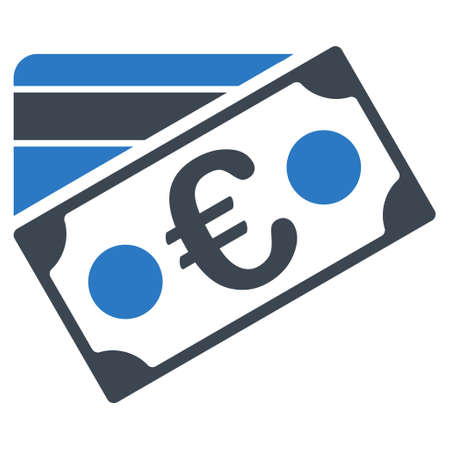 Euro Banknote and Credit Card icon. Glyph style is bicolor flat iconic symbol with rounded angles, smooth blue colors, white background.