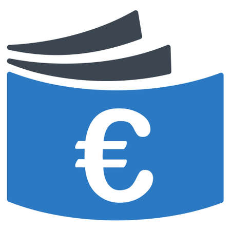 checkbook: Euro Checkbook icon. Glyph style is bicolor flat iconic symbol with rounded angles, smooth blue colors, white background. Stock Photo