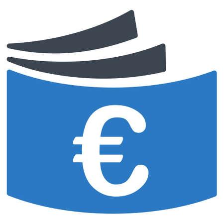 chequera: icono del talonario de cheques de euros. estilo glifo es bicolor símbolo icónico plana con ángulos redondeados, colores azules suaves, fondo blanco.
