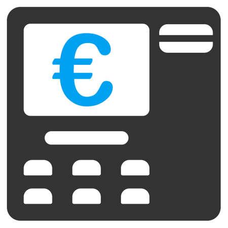 automatic transaction machine: Euro icono Atm. estilo vector es bicolor símbolo icónico plana con ángulos redondeados, colores azul y gris, fondo blanco.