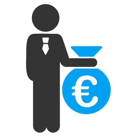 economist: Euro Banker icon. Vector style is bicolor flat iconic symbol with rounded angles, blue and gray colors, white background.