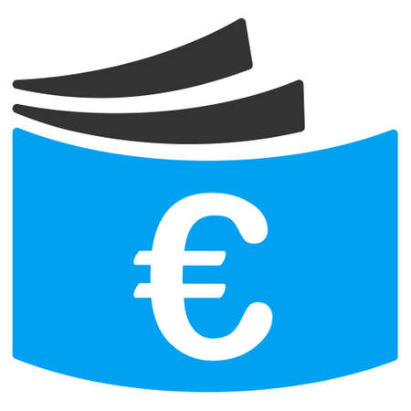 chequebook: Euro Checkbook icon. Vector style is bicolor flat iconic symbol with rounded angles, blue and gray colors, white background.