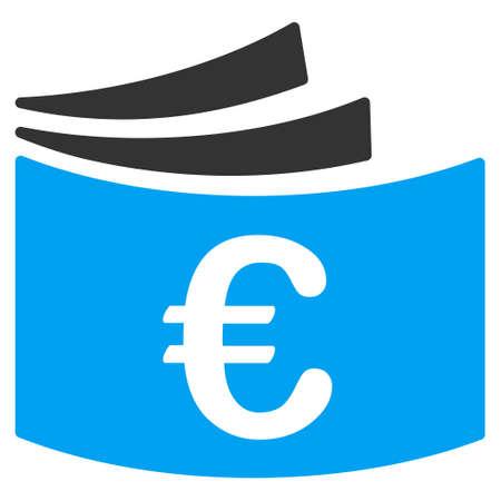 chequera: icono del talonario de cheques de euros. estilo vector es bicolor símbolo icónico plana con ángulos redondeados, colores azul y gris, fondo blanco.