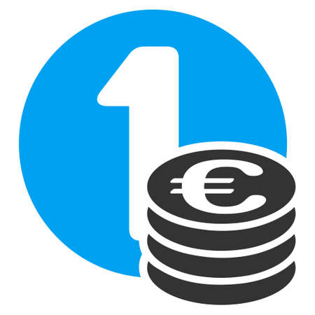 Euro Coins icon. Vector style is bicolor flat iconic symbol with rounded angles, blue and gray colors, white background.