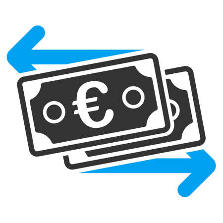 banknotes: Euro Banknotes Change icon. Vector style is bicolor flat iconic symbol with rounded angles, blue and gray colors, white background.