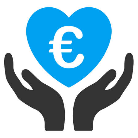Euro Care Hands icon. Vector style is bicolor flat iconic symbol with rounded angles, blue and gray colors, white background.