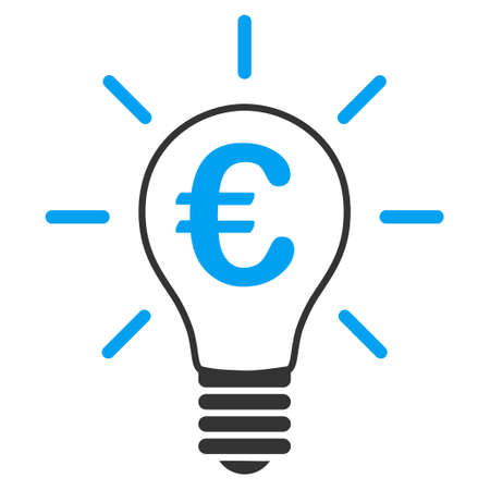 gray bulb: Euro Idea Bulb icon. Vector style is bicolor flat iconic symbol with rounded angles, blue and gray colors, white background. Illustration