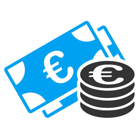 Euro Money icon. Vector style is bicolor flat iconic symbol with rounded angles, blue and gray colors, white background.