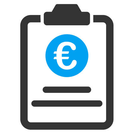 indent: Euro Prices Pad icon. Vector style is bicolor flat iconic symbol with rounded angles, blue and gray colors, white background.