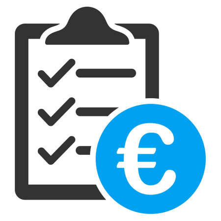 indent: Euro Purchase Pad icon. Vector style is bicolor flat iconic symbol with rounded angles, blue and gray colors, white background.