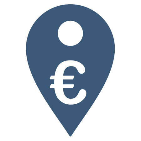 map marker: Euro Map Marker icon. Vector style is flat iconic symbol with rounded angles, blue color, white background. Illustration