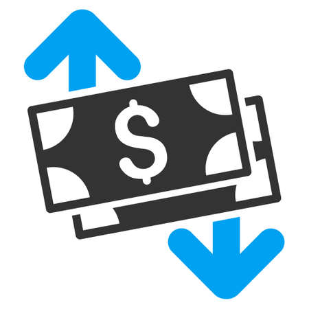 banknotes: Banknotes Spending icon. Vector style is bicolor flat iconic symbol with rounded angles, blue and gray colors, white background.
