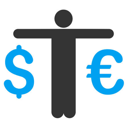 trader: Currency Trader icon. Vector style is bicolor flat iconic symbol with rounded angles, blue and gray colors, white background.