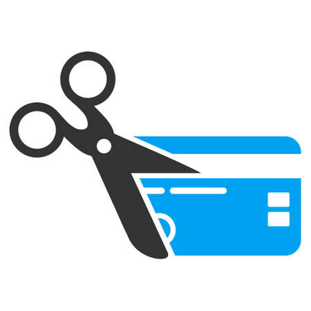 close account: Cut Credit Card icon. Vector style is bicolor flat iconic symbol with rounded angles, blue and gray colors, white background.