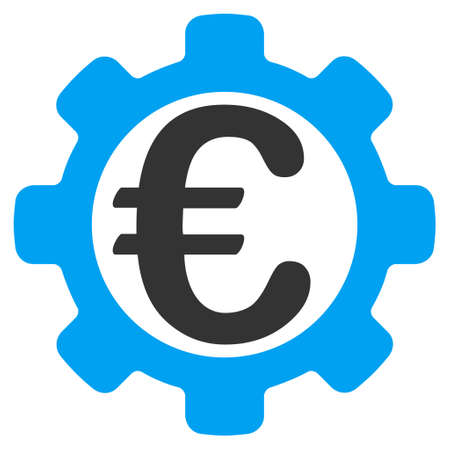Euro Options icon. Vector style is bicolor flat iconic symbol with rounded angles, blue and gray colors, white background. Illustration