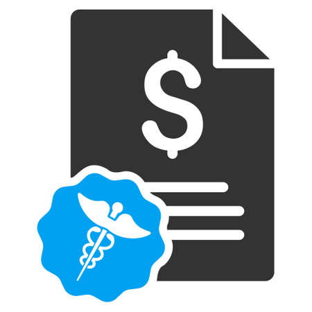 indent: Medical Invoice icon. Vector style is bicolor flat iconic symbol with rounded angles, blue and gray colors, white background.
