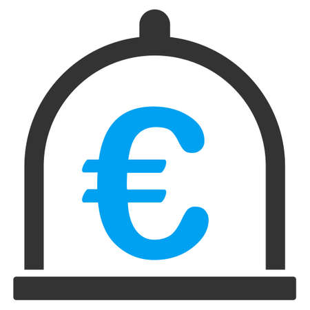 Euro Storage icon. Vector style is bicolor flat iconic symbol with rounded angles, blue and gray colors, white background. Illustration