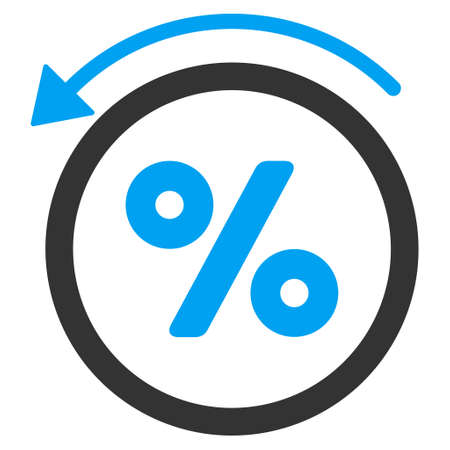 reverse: Rebate Percent icon. Vector style is bicolor flat iconic symbol with rounded angles, blue and gray colors, white background.