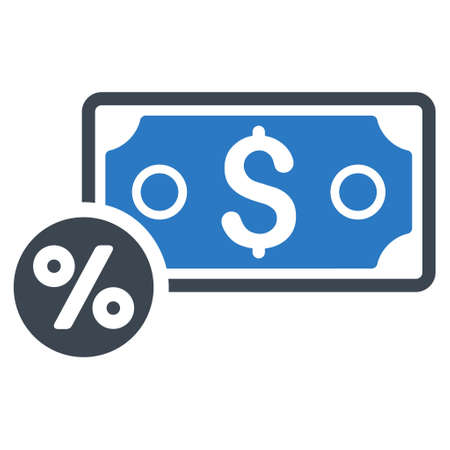 banknote: Banknote Percent icon. Glyph style is bicolor flat iconic symbol with rounded angles, smooth blue colors, white background.
