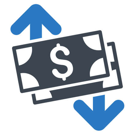 bank activities: Banknotes Spending icon. Glyph style is bicolor flat iconic symbol with rounded angles, smooth blue colors, white background.